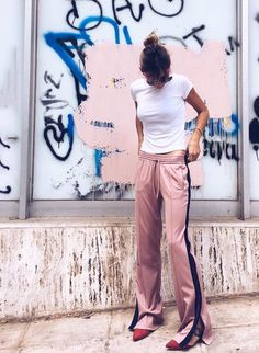 Track bottoms and tee | @andwhatelse