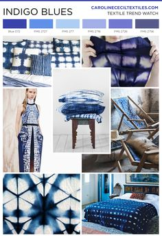 #carolinececiltextiles trend inspiration. Indigo Dye | Shibori | Textiles | Fashion | Mood Board | Pattern | Textile Trend | Interior Design | Interiors | Interior Color Trends | SS16 | FW16 | SS17 | AW17 | FW17 | spring summer 2016 | autumn winter 2016 | textile design | color trend | megatrends |
