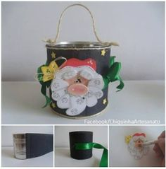 Lata decorativa e ou presenteável com a carinha do Papai Noel   https://www.facebook.com/pages/Chiquinha-Artesanato/345067182280566