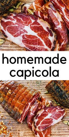 Homemade capicola is easy to make right in your fridge. It's made from the coppa muscle of a pig and once cured and dried the results are buttery and decadent! Don't be afraid - try it! Homemade Sausage Recipes, Smoked Meat Recipes, Italian Recipes, Italian Cooking, Charcuterie Recipes, Charcuterie Meats, Jerky Recipes, Tapenade, Sauces