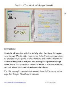 LIFE SCIENCE INTERACTIVE NOTEBOOK - GENETICS: THE STUDY OF HEREDITY - Gregor Mendel has to update his Facebook status when he discovers the key to heredity!!  TeachersPayTeachers.com