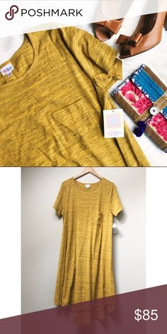 ✨HP✨ NWT LuLaRoe Carly Dress New with tags LuLaRoe Carly dress. This Carly is from the original run of LuLaRoe's Carly line! Mustard yellow with black micro stripes giving it a heathered look, perfect for the holidays and all winter long! LuLaRoe Dresses