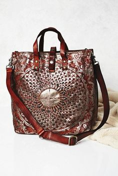 That detailing tho // Campomaggi Moonshine Metallic Leather Tote at Free People Clothing Boutique
