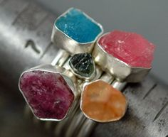 Specimen Crystal Stacker Ring- Sky Blue Apatite Crystal
