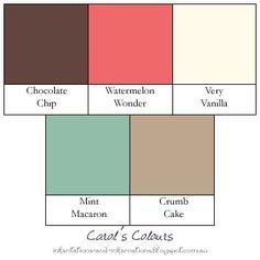 Stampin' Up! colour combination - Chocolate Chip, Watermelon Wonder, Very Vanilla, Mint Macaron, Crumb Cake