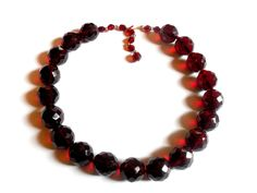 Garnet Czech Glass Choker Necklace Faceted Ruby Red Beads Chunky Bold Statement