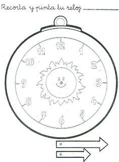 Reloj recortable para aprender las horas para niños