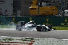 Nico Rosberg (GER) Mercedes AMG F1 W05 goes straight on at the first chicane and Lewis Hamilton (GBR) Mercedes AMG F1 W05 takes the lead. Formula One World Championship, Rd13, Italian Grand Prix, Monza, Italy, Race Day, Sunday, 7 September 2014