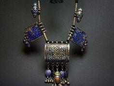 Pakistan - Multan/Sindhi enamelled plaques beads necklace