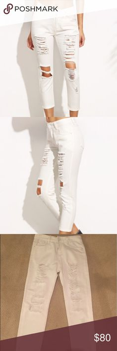 Distressed white denim jeans These are so cute and pretty comfortable. Would definitely work best on someone who is shorter unless you want them to be more on the cropped side. Would best fit a size 24 or xs. Not carmar but similar so tagged for visibility. Bought at a boutique in the hamptons and never worn. Would sell for less on Ⓜ️ e r c Carmar Jeans