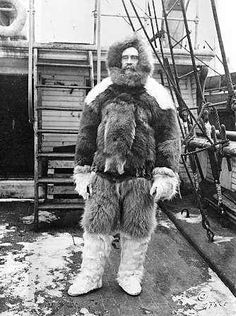Photograph:Robert Peary wears polar expedition gear aboard his ship, the Roosevelt. For his Arctic explorations he adopted the warm fur clothing of the Inuit.