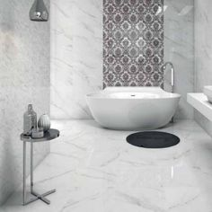 Estatuario Blanco are gloss white ceramic wall tiles with a grey marble vein, designed to look like the natural stone white Carrera marble. The Estatuario tile is also available as a Mosaic Decor tile and as a floor tile. Bathroom Tile Designs, Bathroom Floor Tiles, Wall And Floor Tiles, Bathroom Interior Design, Bathroom Ideas, Bathroom Wall, Loft Bathroom, Kitchen Floor, Kitchen Tiles