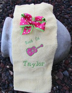 Rock On Guitar Applique Towel and Polka Dot Bow Set - $31.99