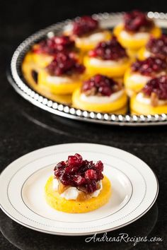 Polenta Toasts Recipe with Goat Cheese, Caramelized Onions, and Port Cranberries - Andrea Meyers Appetizer Recipes, Appetizers, Polenta Appetizer, Antipasto, Goat Cheese Recipes, Tasty, Yummy Food, Cereal Recipes, Caramelized Onions