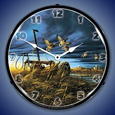 Landmark Mallards Lighted 14 Inch Wall Clock - Buy at Lights in the Northern Sky www.lightsinthenorthernsky.com