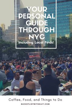 Your personal guide through NYC, including local finds, coffee shops, lunch and dinner restaurants, touristy locations, etc.