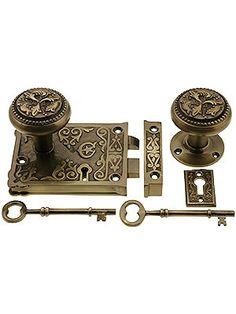 "Rim Locks for Doors. 3 1/4"" x 4 1/8"" Decorative Lock Set in Antique-By-Hand Finish"