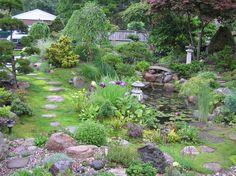 Miniature Japanese Garden   Mini Japanese Style Garden, Small space garden with multiple types of ...
