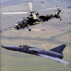 South African Air Force Cheetah and Rooivalk helicopter. Air Force Aircraft, Fighter Aircraft, Military Jets, Military Aircraft, Fighter Pilot, Fighter Jets, Augusta Westland, South African Air Force, Dassault Aviation