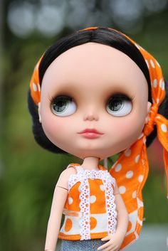 Blythe in all her orange polka-dots glory