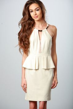 WHITE PEPLUM DRESS WITH KEYHOLE BACK #ustrendy ustrendy.com