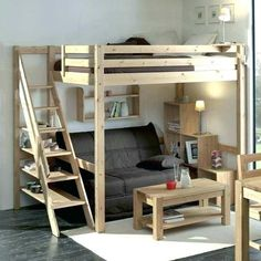 diy loft bed ~ diy loft bed + diy loft bed for kids + diy loft bed for adults + diy loft beds for small rooms + diy loft bed plans + diy loft bed for kids how to build + diy loft bed with desk + diy loft bed for kids small room Small Room Bedroom, Bedroom Loft, Bedroom Decor, Mezzanine Bedroom, Attic Bedrooms, Bunk Beds With Stairs, Kids Bunk Beds, Loft Bunk Beds, Loft Bed Plans