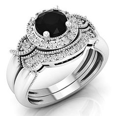 1.30 Carat (ctw) 10K White Gold Black & White Diamond Bridal Halo Engagement Ring Set (Size 7)	by DazzlingRock Collection