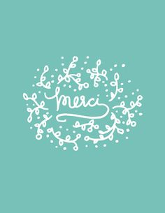 Merci Floral Illustration & Lettering Print