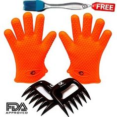 No. 1 Silicone BBQ / Cooking Gloves PLUS No. 1 Meat Shredder PLUS 1 Silicone Basting Brush★Get these 3 Premium Products for Price of One★High Heat Resistant Water Proof Gloves★ 100% Money Back Guarantee
