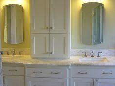 double sink vanities with storage towers | bathroom vanity tower