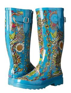 Wide Calf Rubber Rain Boots for Women - Brighten up a rainy day with our printed rubber rain boot from sakroots! These boots are lined with jersey and have cushioned insoles for walking city streets. Wide Calf Boots, Ankle Boots, Walking City, Floral Boots, Simple Shoes, Thing 1, Designer Boots, Plus Size Fashion, Rubber Rain Boots