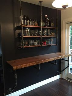 Wood Iron Industrial Shelve Bar/Top/Shelve Combo Shelf Storage Beer Wine Computer Desk Sold Together Bar & Shelve - 21 diy bar cheap ideas Shelves, Rustic Bar, Pool Table Room, Home, Bar Shelves, Basement Remodeling, Diy Home Decor, Bars For Home, Wall Bar