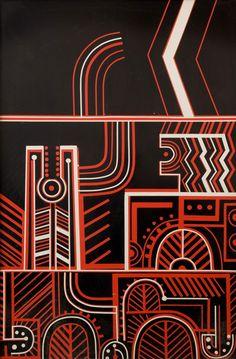 "Part 2 of 3 piece ""untitled"" - para matchitt Maori Patterns, Nz Art, Maori Art, Visionary Art, Mixed Media Artists, Simple Shapes, Printmaking, Print Design, Creative"