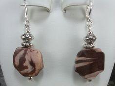Jasper Earrings Brown Earrings Zebra Jasper Beaded Earrings Gemstone Earrings Handmade Jewelry Handcrafted Jewelry Genuine Natural Gemstones