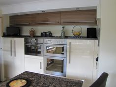 CRP Carpentry - Cream & Ivory Gloss Midi Units with Bridging units. Built in appliances. Kitchen Projects, Dream Kitchen, Kitchen Cabinets, Gloss Kitchen, Cottage Kitchen, Kitchen, Microwave Oven, Cottage Kitchens, Double Oven Microwave