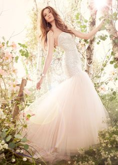 Blush Tulle Fit and Flare bridal gown, strapless sequins embroidered elongated bodice, chapel train  . . Romantic Bridal Inspiration Couture Designs Photography  ♥ . . ✿⊱╮. ★ . . ╭✿⊰ ♥ . . ★ . . ♥ ☽★☀☆☾ ༺♥༻