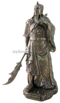 Guan Yu Sculpture - Hero Romance of the Three Kingdoms - This statue depicts Guan Yu, a Chinese general who later became the god of war and wealth.  He is viewed as the epitome of loyalty and righteousness in China.  What a perfect gift idea for fans of Chinese style and religion.  $71.12