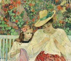 Henri Lebasque (French artist, 1865-1937) La Lecons de Couture