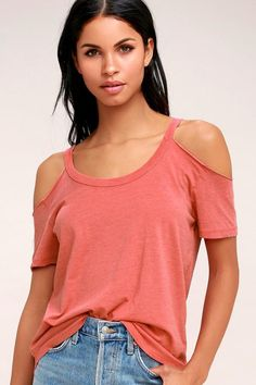 #AdoreWe #Lulus Womens - Lulus Anuhea Washed Coral Red Off-the-Shoulder Tee - Lulus - AdoreWe.com