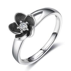 Authentic Black Enamel Mystic Flower Rings With Cubic Zirconia Best Birthday Gift For Women Gifts For Gf, Silver Jewelry, Silver Rings, Fashion Accessories, Fashion Jewelry, Party Rings, Birthday Gifts For Women, Fashion Pictures, Fashion Ideas