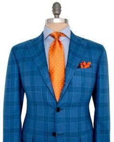 Image of Kiton Bright Blue Glen Plaid Sportcoat