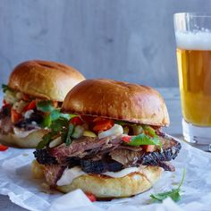 Smoked Brisket Sandwiches with Pickled Vegetables Recipe - Michael Symon | Food & Wine