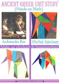 Have you heard of Archimedes Box or stomachion? Look at this hands on activity to add to your Ancient Greece homeschool unit study. It's a 14 piece puzzle. History Activities, Hands On Activities, Math Activities, Teaching History, Birthday Gifts For Sister, Birthday Gifts For Boyfriend, Tapestry Of Grace, Homemade Gifts For Boyfriend, Homemade Anniversary Gifts