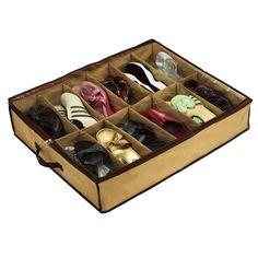 Shoes Under space saver has twelve pockets to keep 12 pairs of shoes neatly separated so it's easy to find just the right shoes when you need. This storage system designed to keep your shoes dust, moi