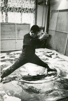 ACTION PAINTING   Scene of Kazuo Shiraga's production, courtesy of YOKOSUKA MUSEUM OF ART