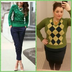 #ChubbyChique 3-17-2015 #ootd #MarchPinnedItSpinnedIt Navy and green inspiration