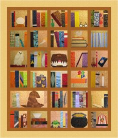 what is this! i can't even!!! Harry Potter Bookcase Quilt with downloadable patterns for each block
