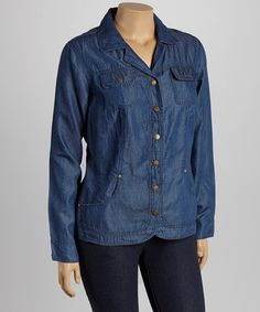 Look what I found on #zulily! Button-Up Denim Jacket - Plus by Live A Little #zulilyfinds