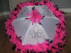 PiNK WHiTE BlACK Medium Second Line Umbrella- CHOOSE COLORS- New Orleans Parade Bachelorette Birthday Sorority
