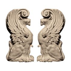 """63439   6114   Manufactured by Pearlworks - OL-546BOL-546B - Approx. 3-3/4"""" x 7"""" x 1-1/4"""" Lion pair. - ONL63439 by Architectural Depot"""